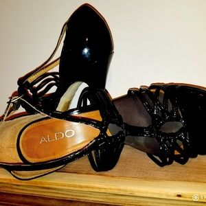 Aldo patent leather high heel sandals